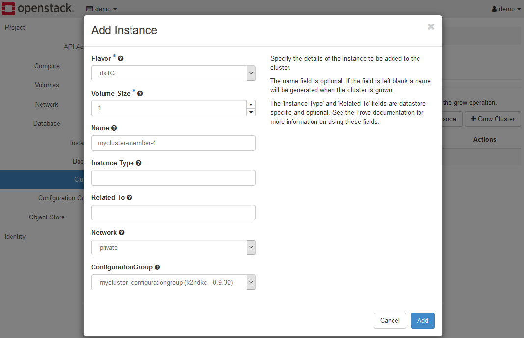 Add Instance Dialog