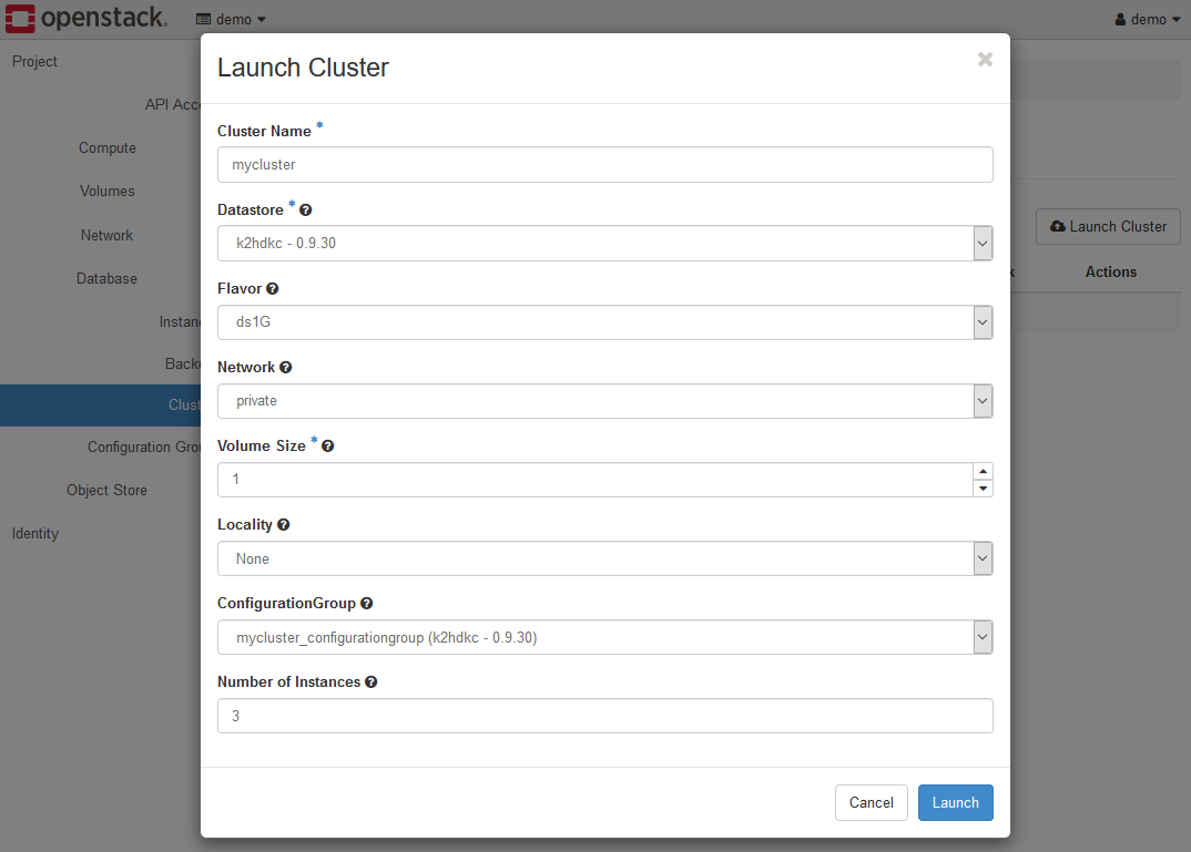Create cluster dialog