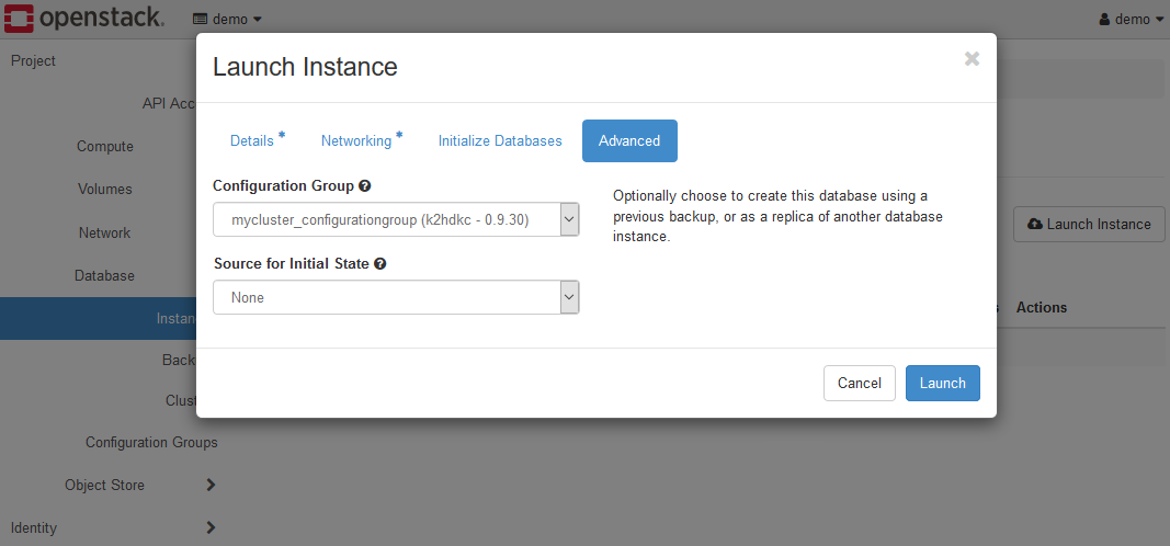 Create Instance dialog - Advanced