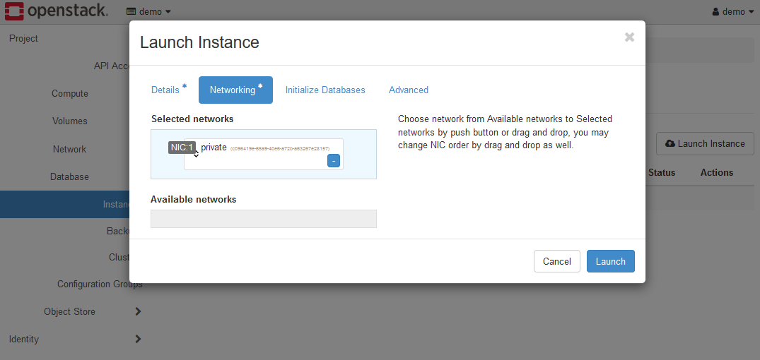 Create Instance dialog - networking