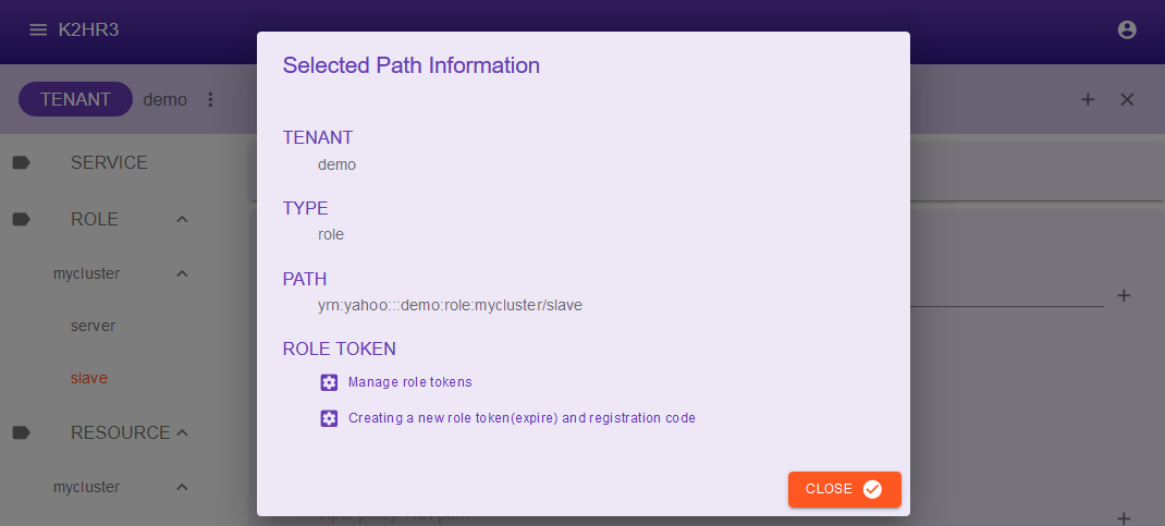 K2HR3 - Selected Path information dialog
